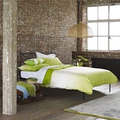 Saraille Lime Bed Linen | Designers Guild