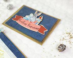 Tarjeta de Navidad scrapbook decorada con antelina y cartulina dorada. Ideas Scrapbooking, Blog, Diy, Card Tutorials, Greeting Cards, Card Stock, Xmas, Bricolage, Blogging