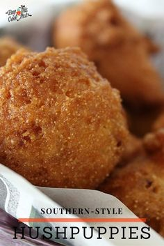 Deep-fried little sweet & savory balls of cornbread. How can you go wrong with our fried-and-true recipe for Southern Style Hushpuppies? buythiscookthat.com/southern-style-hushpuppies/