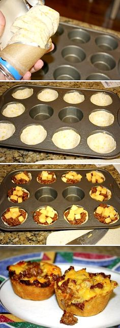 Cheeseburger cups easy grab-and-go, or picnic, or appetizer, or kid-friendly party idea. This recipe uses Pillsbury biscuits to form the cups for the ground beef mixture (with link to recipe)! I Love Food, Good Food, Yummy Food, Delicious Recipes, Cheeseburger Cups, Beef Recipes, Cooking Recipes, Recipies, Jalapeno Recipes