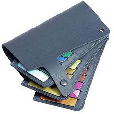 Teemzone Men Women Genuine leather Name Credit Business Member Card Case Holder (Dark Blue)