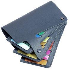 Teemzone Men Women Genuine leather Name Credit Business Member Card Case Holder (Dark Blue)