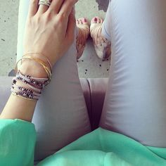 mint jeans, grey top, nude sandals, or grey booties, bracelets