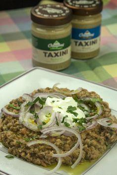 Lentils with tahini Vegan Vegetarian, Vegetarian Recipes, Healthy Recipes, Healthy Cooking, Cooking Recipes, Lunch To Go, Greek Recipes, Tahini, No Cook Meals