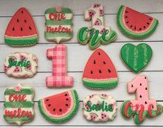 Fruit Cookies, Baby Cookies, Watermelon Sugar Cookies, First Birthday Theme Girl, Teenage Girl Birthday, First Birthday Cookies, 1st Birthday Party Themes, Watermelon Patch, Watermelon Decor