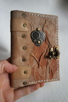 Leather Diary leather bound Leather Sketchbook leather diary handmade small leather notebook with Guitar emblem