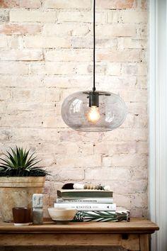 KOBE pendant with smoke glass. Designed by Benny Frandsen. Kitchen Pendant Lighting, Kitchen Pendants, Glass Pendant Light, Glass Pendants, Glass Ceiling, Ceiling Rose, Ceiling Lights, Berlin Design, Art Deco Stil