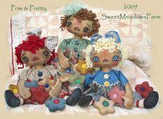 Prim and Pretty Primitive Raggedy Dolls E-PATTERN with Flower Ornies PDF via Etsy