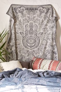 Magical Thinking Sketched Hamsa Tapestry