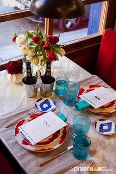 Hipster intimate wedding : decoración colorida de mesa de boda {Decoración, Cristina & Co / Foto, La Fotografía de tu boda} #weddingdecoration #decoracionbodas #tendenciasdebodas