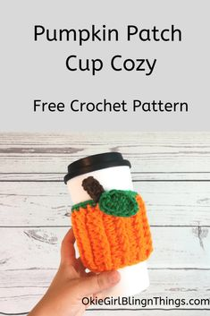 knitting and crochet Patterns cup cozies - Pumpkin Patch Cup Cozy - Free Crochet Pattern - OkieGirlBling'n'Things Crochet Coffee Cozy, Crochet Cozy, Crochet Fall, Crochet Gifts, Cute Crochet, Dishcloth Crochet, Coffee Cup Cozy, Crochet Mandala, Crochet Afghans