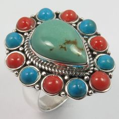 925 Solid Sterling Silver TURQUOISE & CORAL Gemstones Tibetan Ring Size US 7.5 #SunriseJewellers #Fashion