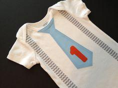 Birthday Chevron Baby Boy Tie Onesie or T-shirt with suspenders-  First Birthday Boy Outfit. $16.00, via Etsy.