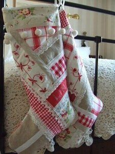 Christmas stockings and ideas to use them for decor 28 Cottage Christmas, Noel Christmas, Country Christmas, All Things Christmas, White Christmas, Handmade Christmas, Christmas Villages, Unique Christmas Stockings, Xmas Stockings