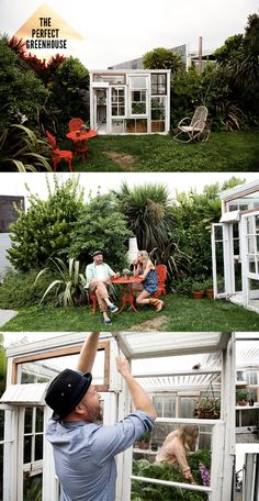 Stephen and Lucy Marr - Hairdressers and Skincare Developers - in their glass house - Auckland - Nov 2011 Victorian Greenhouses, Reclaimed Windows, Dapper Dan, Old Windows, Rooftop Garden, House Roof, Back Gardens, Restaurant Design, Decoration
