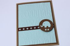 Elephant Baby Card Blue Brown by RoyalRegards on Etsy, $3.25