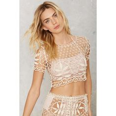 For Love & Lemons St. Tropez Lace Crochet Top ($158) ❤ liked on Polyvore featuring tops, ivory, loose crop top, loose fitting crop top, scalloped crop top, beige top and beige crop top