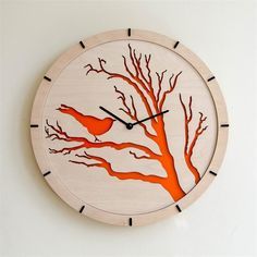 15 Modern Wall Clock Bird orange Large Wall Clock by