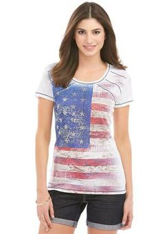 Cato Fashions American Flag Embellished Tee #CatoFashions #catosummerstyle