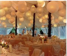 Lighted paper lanterns in the interior