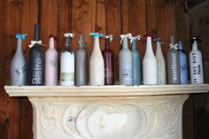 Big thanks to Cathy Lansbury for letting us share these funky stencilled bottles, she created using Annie Sloan Chalk Paint and Dovetails Stencils.