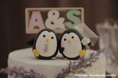 LOVE ANGELS Wedding Cake Topper-love Penguins by kikuike on Etsy