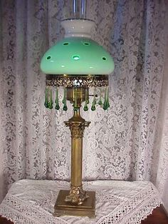 Antique Gone with The Wind Green White Table Lamp Chandelier | eBay