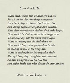 Sonnet 43 by Shakespeare