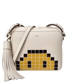 ANYA HINDMARCH Anya Hindmarch Pixel Smiley Leather Crossbody'. #anyahindmarch #bags #shoulder bags #leather #crossbody #lining #