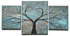 Original Modern Heart Tree Painting Timeless Desire by drewtimmer