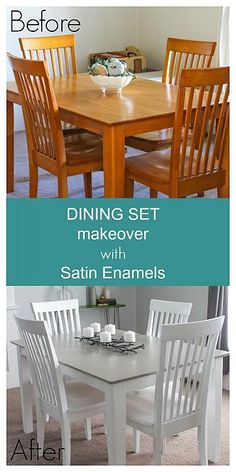 Dining Set Makeover with Satin Enamels - Pick them up at Michaels today!