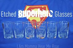 I Am Momma - Hear Me Roar: Etched Super Hero Glasses--Looks pretty simple! I might have to try it once I get my Cameo! Not with super hero logos, but I just needed the tutorial! Diy Gifts For Kids, Kids Diy, 4 Kids, Children, Glass Etching, Etched Glass, Silhouette Machine, Silhouette Cameo, Neighbor Gifts