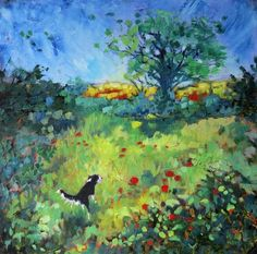 Brightly-colored oil painting of a border collie running in a field of vibrant red flowers