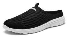 Vanskelin Men's Breathable Mesh Anti-Slip Outdoor Backless Shoes Leisure Walking Closed Toe Slippers (42 EU 8.5US Men, Black)