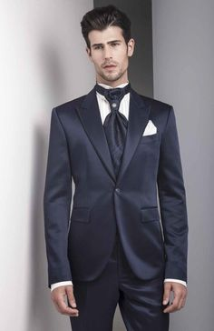 Click To Buy Tailor Made Dark Navy Blue Satin Groom Tuxedos 2 Piece Slim Fit Mens Wedding Prom Dinner Suits Best Man Groomsman Suit Terno Affiliate