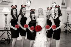 Minnie-inspired bridal party photo #Disney. Disney Wedding blog.