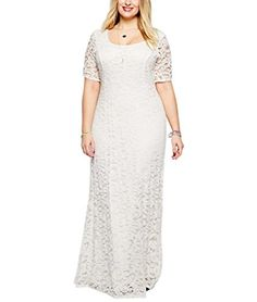 Nemidor Womens Full Lace Plus Size Wedding Maxi Dress White 6XL White *** Be sure to check out this awesome product.