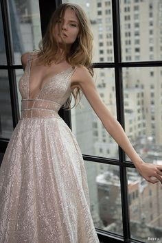 berta bridal fall 2016 sleeveless deep vneck embellished aline wedding dress (16 101) zv