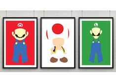 Super Mario Print Set, Set of Three Super Mario Minimalist Prints,Minimalist Video Game Art, Mario, Luigi & Toad Poster Set by CaptainsPrintShop on Etsy https://www.etsy.com/uk/listing/177722870/super-mario-print-set-set-of-three-super