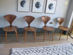 classic norman cherner mid century walnut plycraft side chairs set of 4