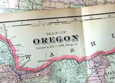 1901 Large Antique Map of Oregon by bananastrudel on Etsy, $30.00