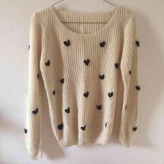 Cream knit heart sweater Just like Brandy Melville Ollie knit pattern but it's cream color with three dimensional hearts! Super cute. 15 shipped mercari. Not Brandy! Brandy Melville Sweaters
