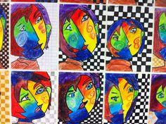 In de stijl van Picasso. Gemaakt met oliekrijtjes door mijn groep 8.