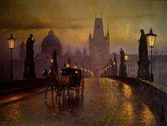 Author's gallery - Mirosław Szeib - oil paintings on canvas Victorian Street, Victorian London, City Painting, Oil Painting On Canvas, City Art, Cute Sketchbooks, Art After Dark, London 1800, Art Nouveau