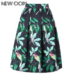 76d1d5b6dbbb NEW OOPS 2016 3D Digital Leaves Bird Print Midi Skirts High Waist Pleated A  line Autumn Winter Tutu Retro Puff Skirt B1610020-in Skirts from Women's ...