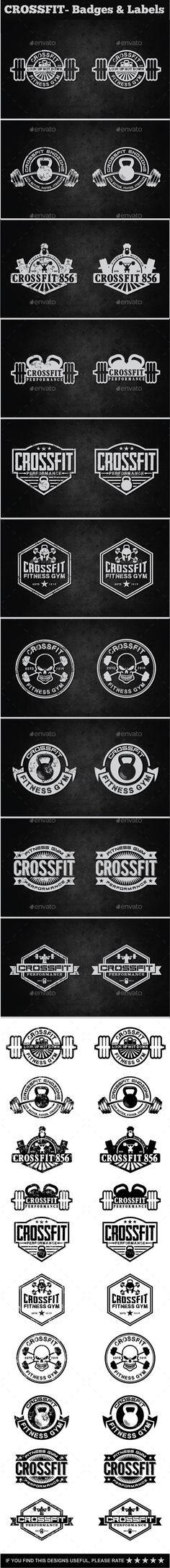 Crossfit- Labels & Badges #design #label Download: http://graphicriver.net/item/crossfit-labels-badges/11820703?ref=ksioks