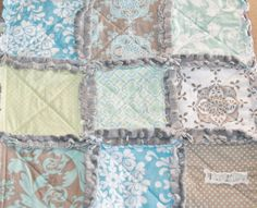 Baby Boy Gift Rag Quilt Lovey Minky Security Blanket