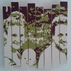"""Happy family"" - 50x50 cm, acrylic paint on wooden panels, € 300,-"