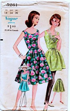 Vogue 5261 Vintage Sewing Pattern, Misses' Wrap Dress, Glamorous Summer Tunic & Cigarette Slacks,Check offers for Size Rockabilly Clothing, Rockabilly Outfits, Summer Tunics, Summer Dresses, Clothes Patterns, Sewing Stores, Vintage Sewing Patterns, Slacks, Sewing Crafts