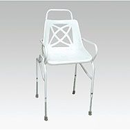 €70.50  Adjustable Shower Chair  Good quality static shower chair; Adjustable height; Powder coated steel frame; Drainage holes in seat comply to standard BS:EN12181:1999 Integral arms